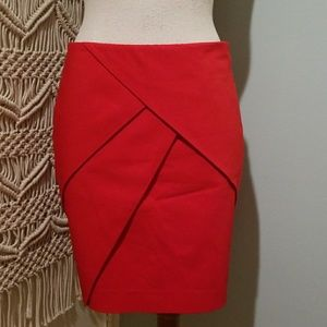 H&M Red Oragami Wrap Pencil Skirt 8 NWT